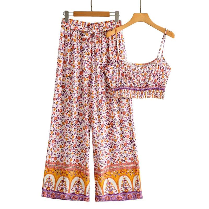 new  sling strap high waist wide leg pants suit  NHAM284363