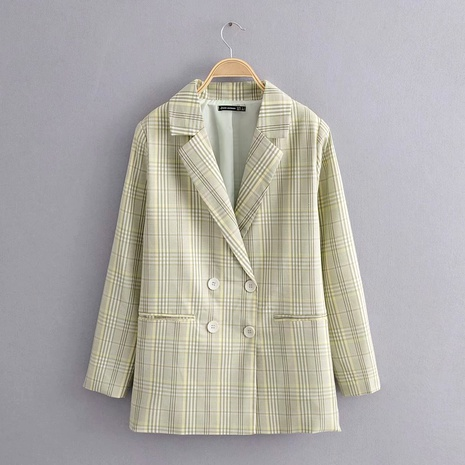 fresh green double-breasted check blazer  NHAM284367's discount tags