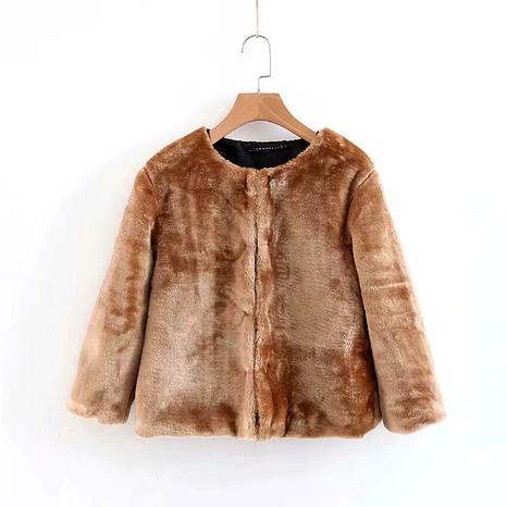 faux fur effect warm slim short long sleeve cardigan jacket NHAM284378's discount tags