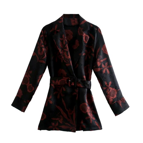 new style jacquard with belt printed blouse suit  NHAM284381's discount tags