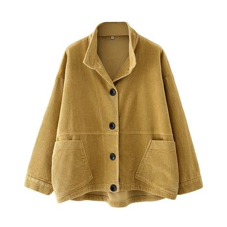 corduroy buttons short jacket  NHAM284383's discount tags