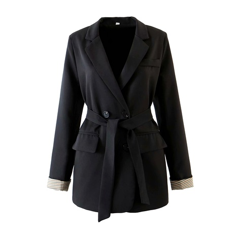 new belt double-breasted sleeves plaid long-sleeved blazer  NHAM284395's discount tags