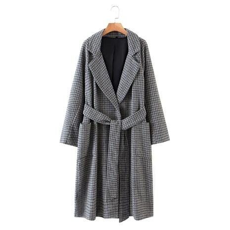 gray plaid without buckle belt long woolen coat jacket  NHAM284464's discount tags