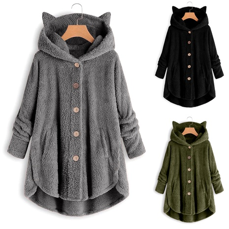 new fashion button plush top irregular solid color jacket NHYF284470's discount tags