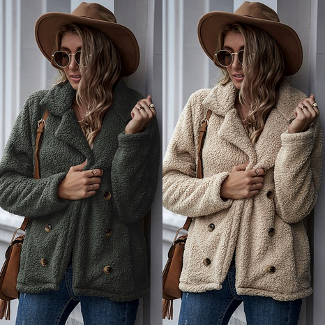 new   beltless pure color lapel casual double-breasted loose women's jacket NHDF284475's discount tags