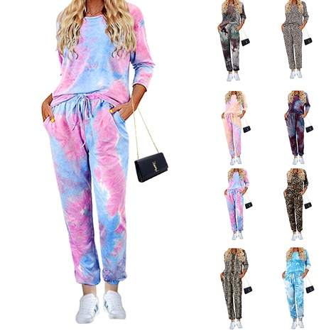 autumn tie-dye printing long-sleeved trousers two-piece suit pajamas  NHJC284686's discount tags