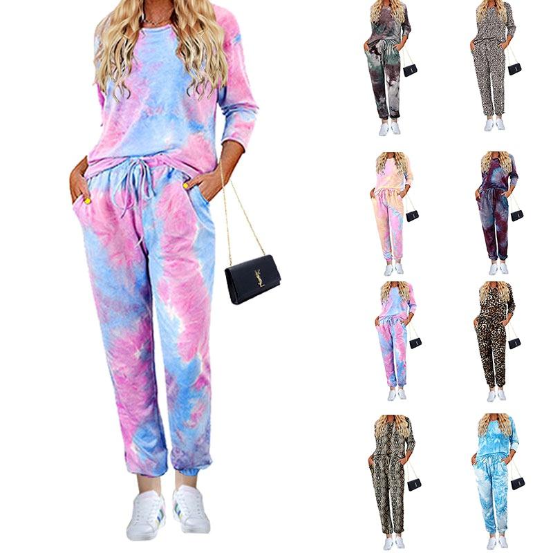 Pantalones de manga larga con estampado tie-dye de otoño pijama de traje de dos piezas NHJC284686