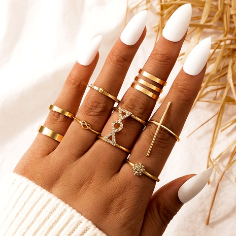 Fashion romantic punk hip-hop metal alloy rings set NHGY285682's discount tags