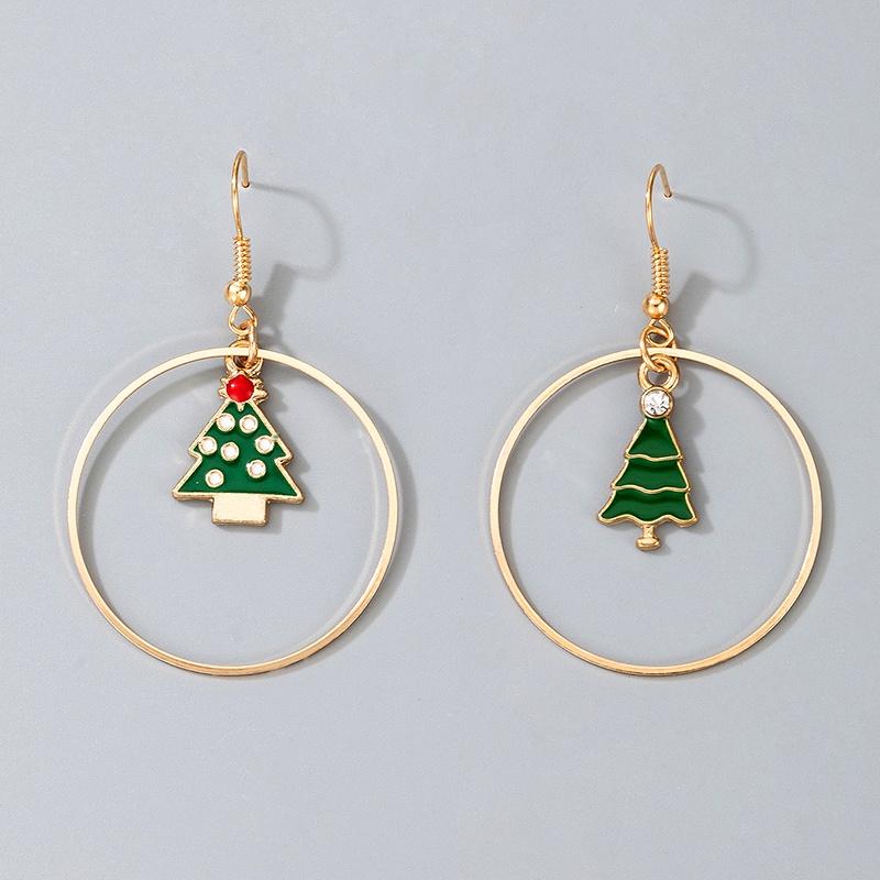 Christmas tree rhinestone earrings NHGY285689
