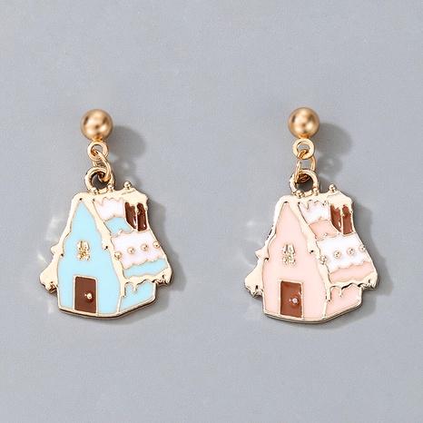 Retro Cute Cartoon Christmas Metal Epoxy Cartoon House Earrings  NHGY285690's discount tags