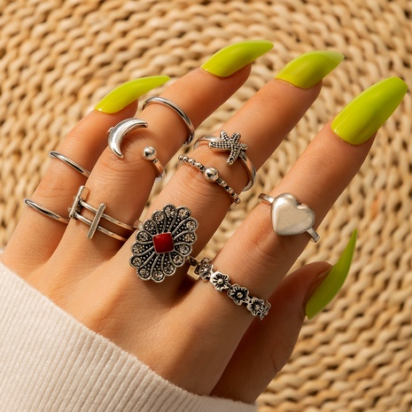 retro flower moon love rings set  NHGY285677's discount tags