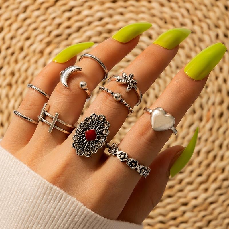 retro flower moon love rings set  NHGY285677