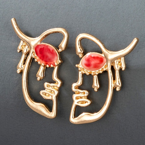 retro exaggerated ruby epoxy portrait earrings  NHGY285672's discount tags