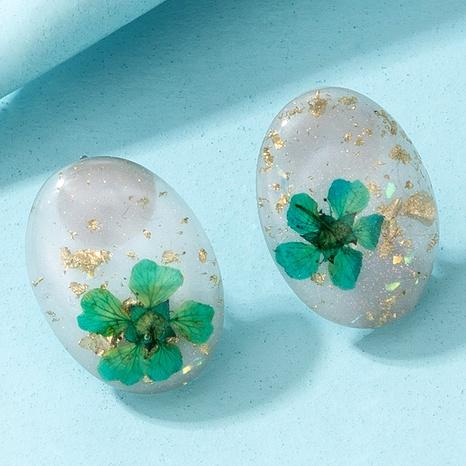 cute oval resin acrylic flower earrings  NHGY285671's discount tags