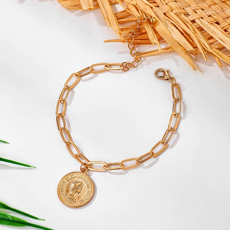 Retro alloy coin head chain metal bracelet NHGY285668's discount tags