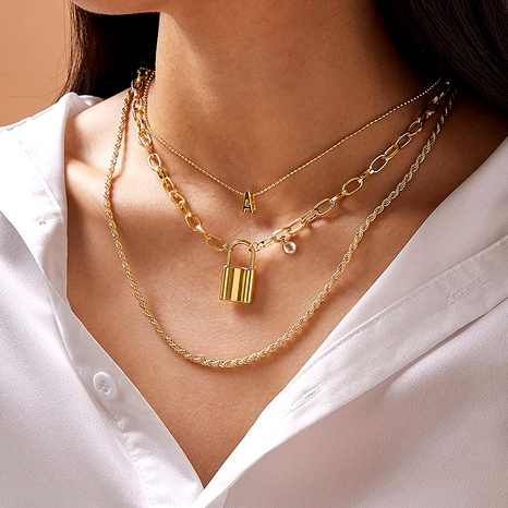 Retro metal letter lock twist alloy multilayer necklace  NHGY285666's discount tags
