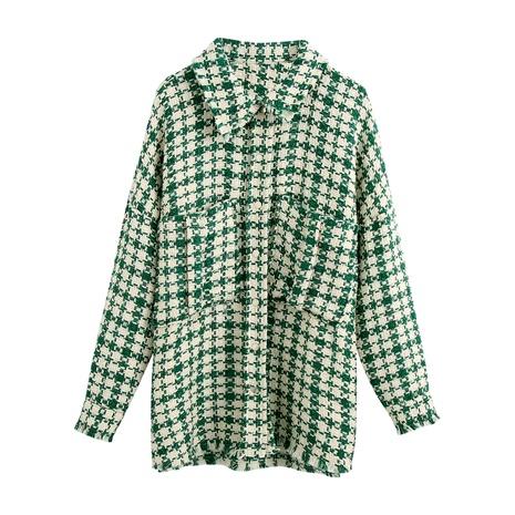 loose tweed woolen shirt women's woolen jacket  NHAM284456's discount tags