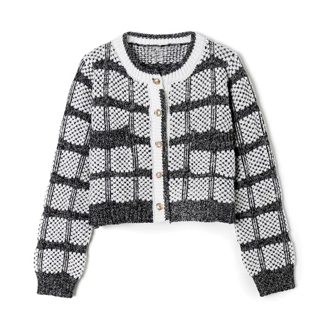 retro checkered knitted women's cardigan jacket  NHAM284404's discount tags