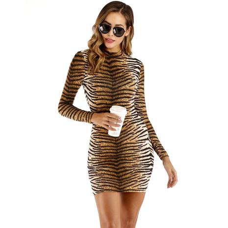 robe sexy à manches longues à imprimé tigre NHJG285590's discount tags