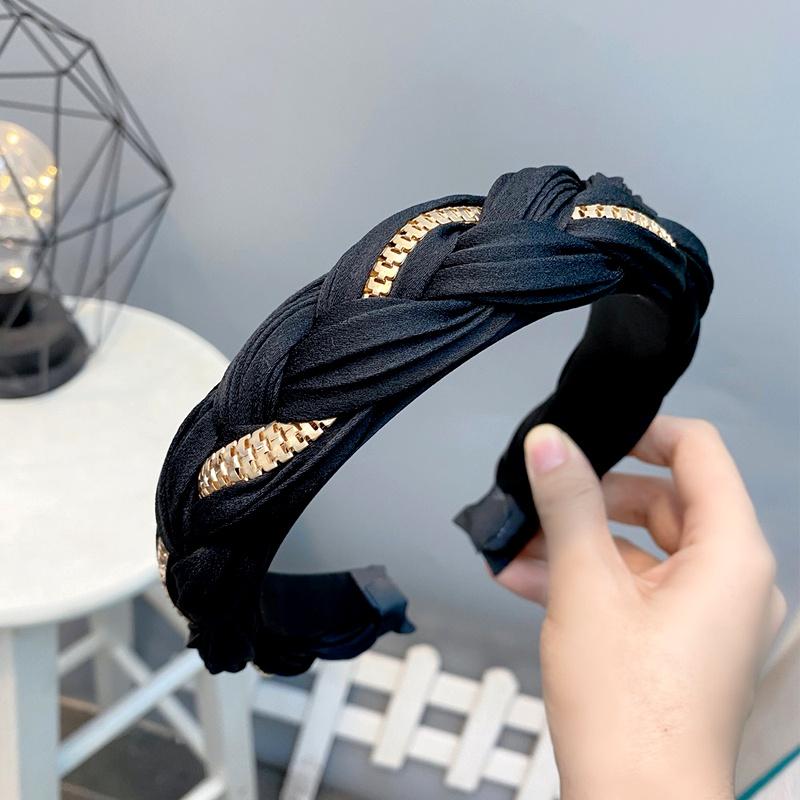 zipper strip  silk satin twist braid headband  NHFS284689