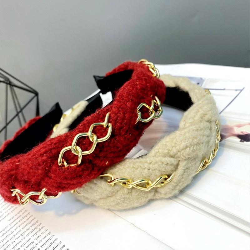 woolen yarn twist braid woven wide  alloy chain trend headband  NHFS284715