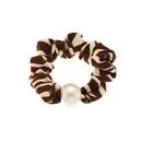 Korean striped pearl  leopard print hair scrunchies  NHAU284831