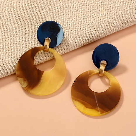 Retro Amber Round Acrylic Earrings  NHAN284836's discount tags