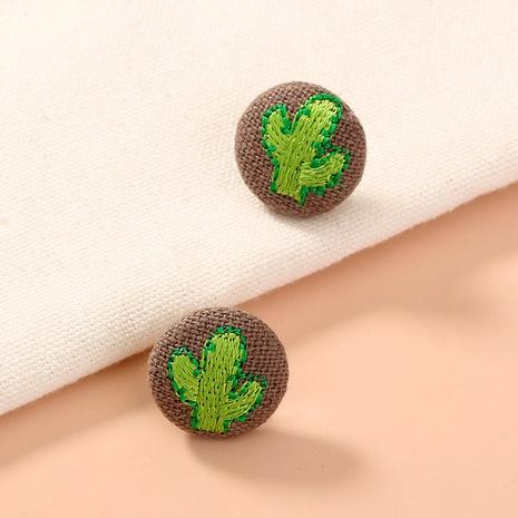 Pendientes de piña de cactus de tela de botón de moda NHAN284842's discount tags