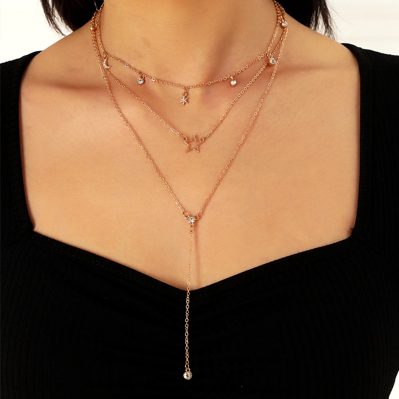 New star and moon pendant necklace NHOT285189
