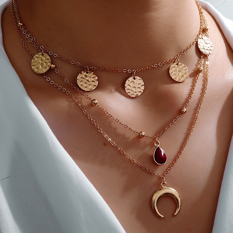 New water drop moon three-layer necklace NHOT285187