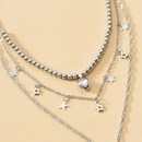 New beaded star necklace with small peach hearts NHOT285184