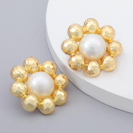 aretes de flores de perlas de imitación de aleación NHJE284905's discount tags