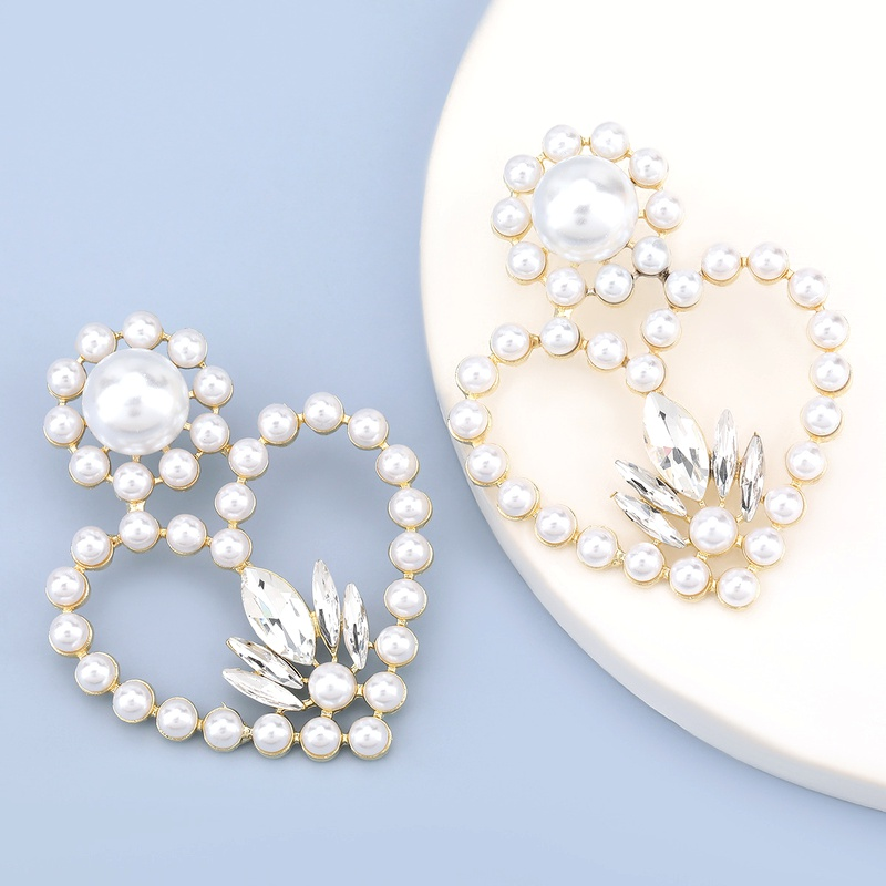 heart-shaped alloy diamond glass imitation pearl earrings  NHJE284909