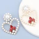 heartshaped alloy diamond glass imitation pearl earrings  NHJE284909