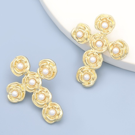 aretes de aleación con incrustaciones de perlas y flores NHJE284915's discount tags