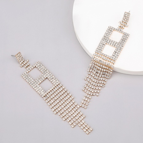 fashion alloy diamond letter H tassel earrings  NHJE284925's discount tags