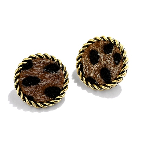 retro round gold rim leopard print small earrings NHJQ284941's discount tags