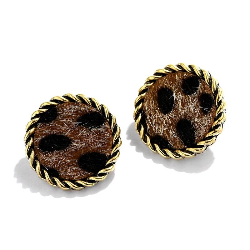 retro round gold rim leopard print small earrings NHJQ284941