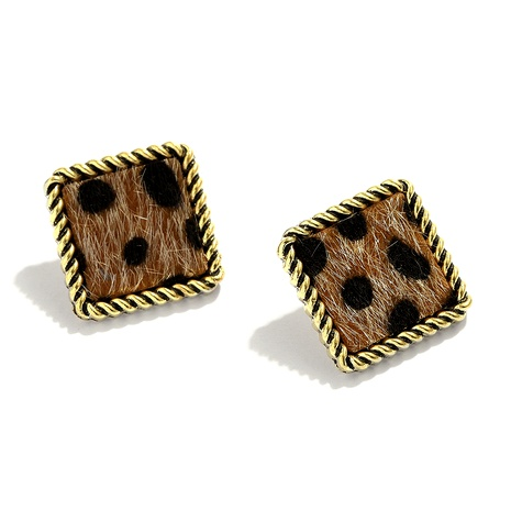 simple square alloy leopard print flocking earrings  NHJQ284943's discount tags