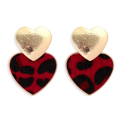 suede leopard print heart-shaped short earrings  NHJQ284944's discount tags