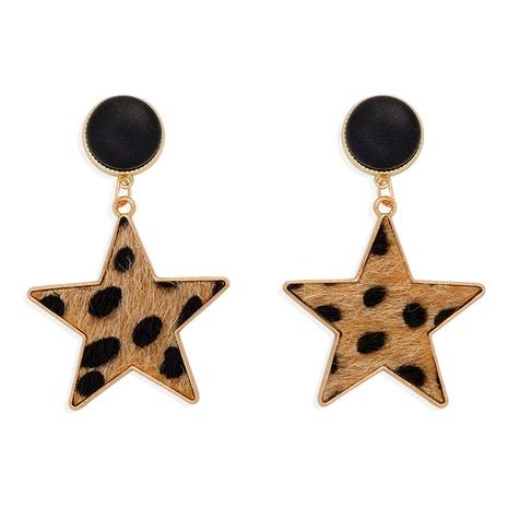 aretes de estrella de cinco puntas con estampado de leopardo NHJQ284945's discount tags