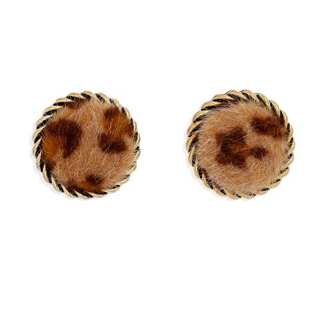 pendientes redondos de felpa con estampado de leopardo retro NHJQ284949's discount tags