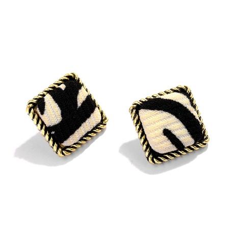 retro plush leopard pattern square alloy pendant fashion earring NHJQ284950's discount tags