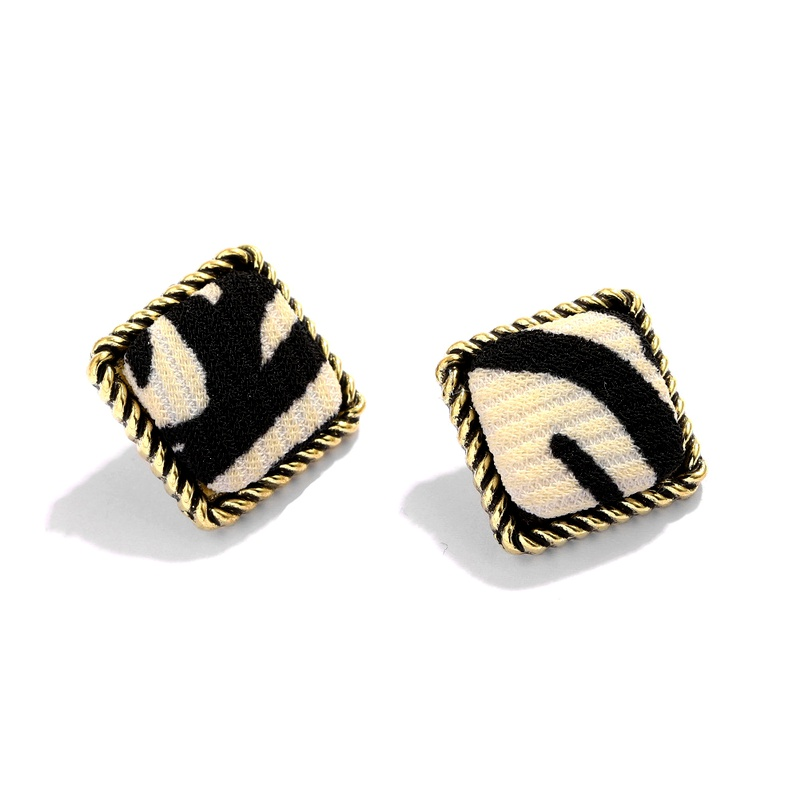 retro plush leopard pattern square alloy pendant fashion earring NHJQ284950