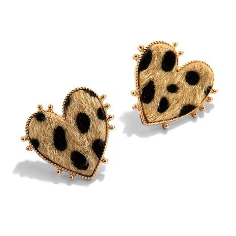 aretes retro de leopardo con corazón de melocotón NHJQ284951's discount tags