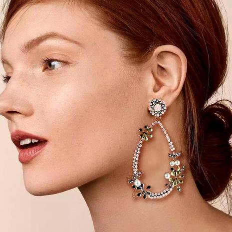 flower pearl alloy inlaid rhinestone long earrings NHLN284956's discount tags