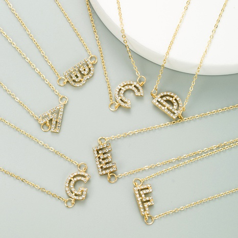 26 English letter retro alloy inlaid rhinestone necklace  NHLN284962's discount tags