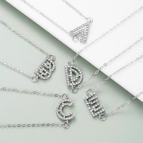 Letter alloy full diamond silver pendant necklace NHLN284964's discount tags