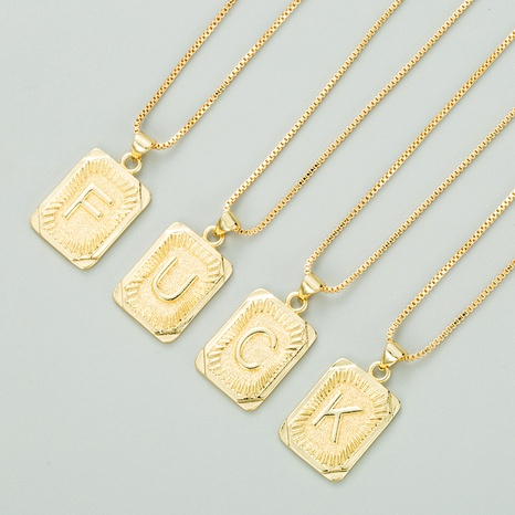 copper plated 18K gold letter fashion pendant necklace NHLN284965's discount tags