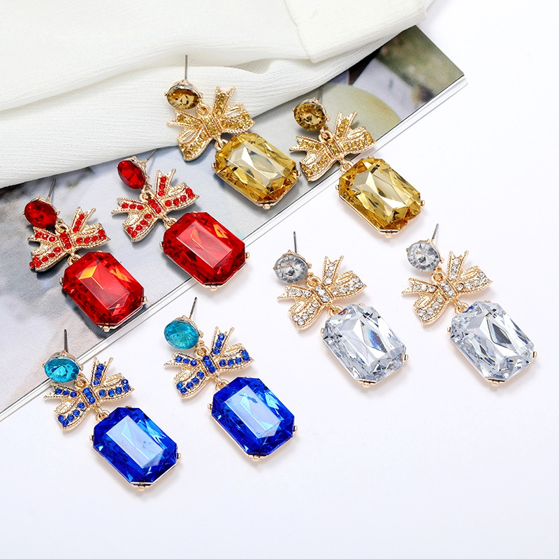 alloy bow square diamond earrings NHLN284972